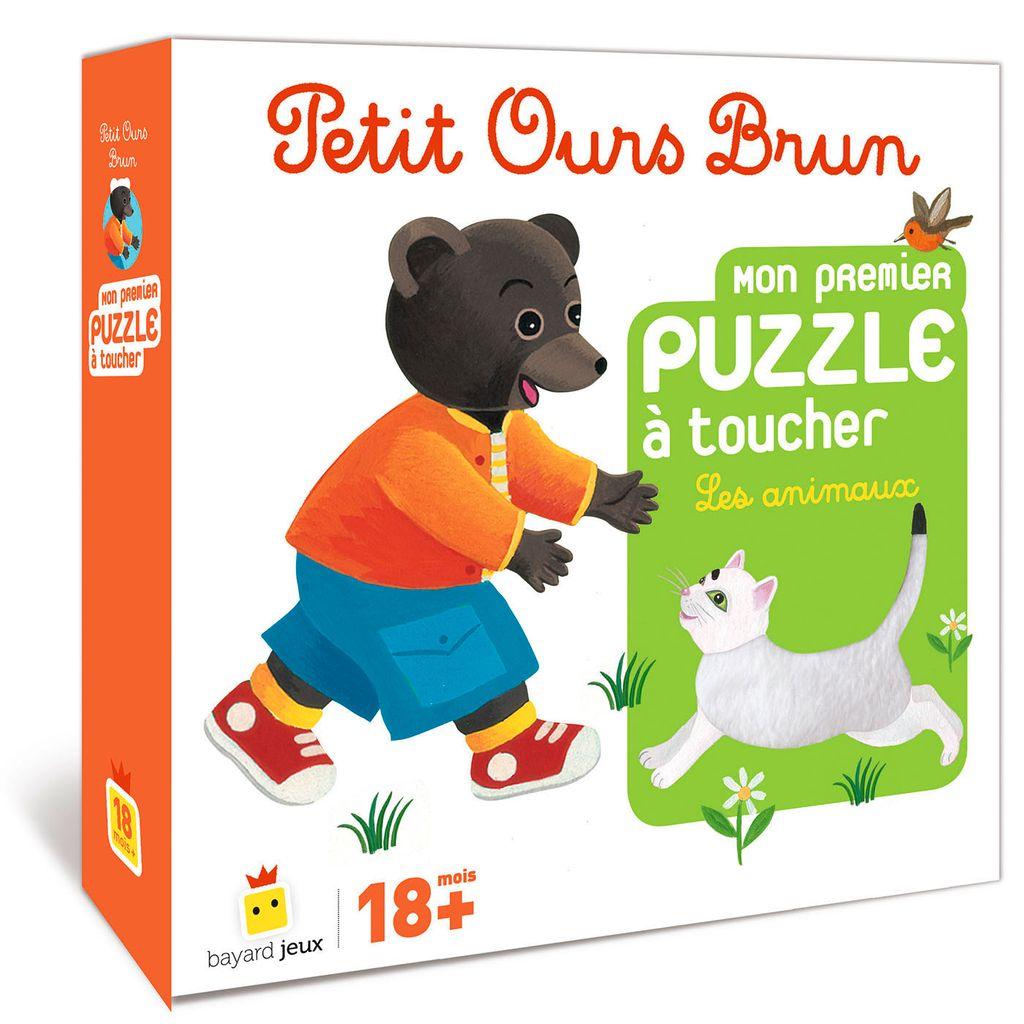 Couverture de «Jeu Petit Ours Brun – Mon premier puzzle à toucher Les animaux»