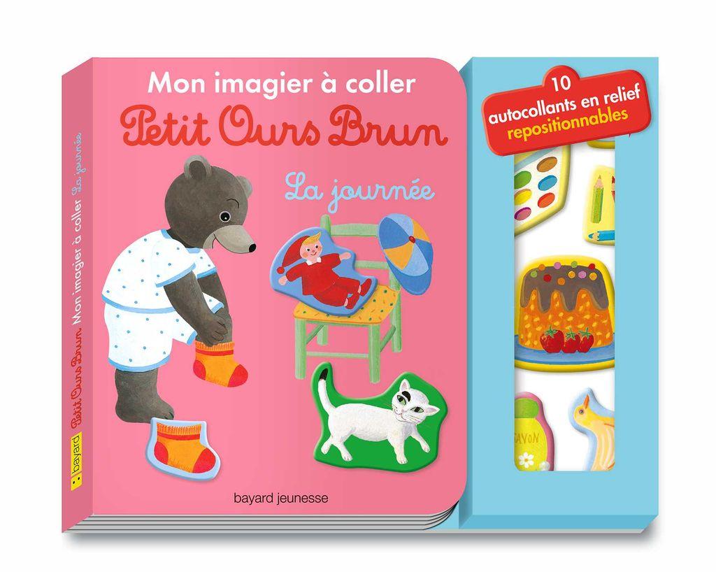 Couverture de «Mon imagier à coller Petit Ours Brun – La journée»
