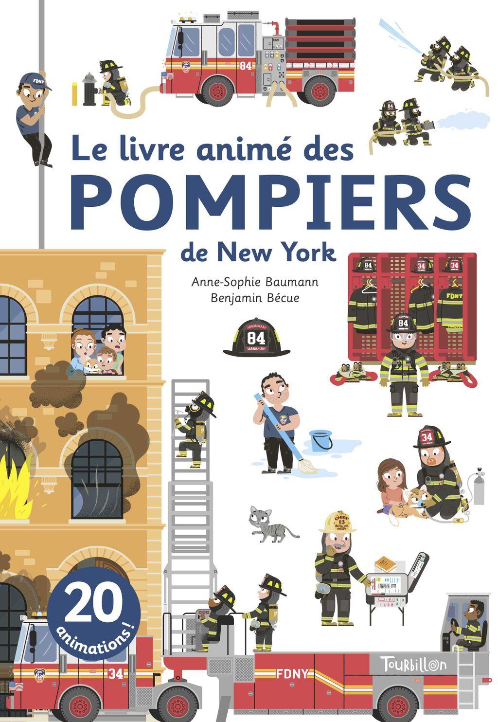 Couverture de «Le livre animé des pompiers de New York»