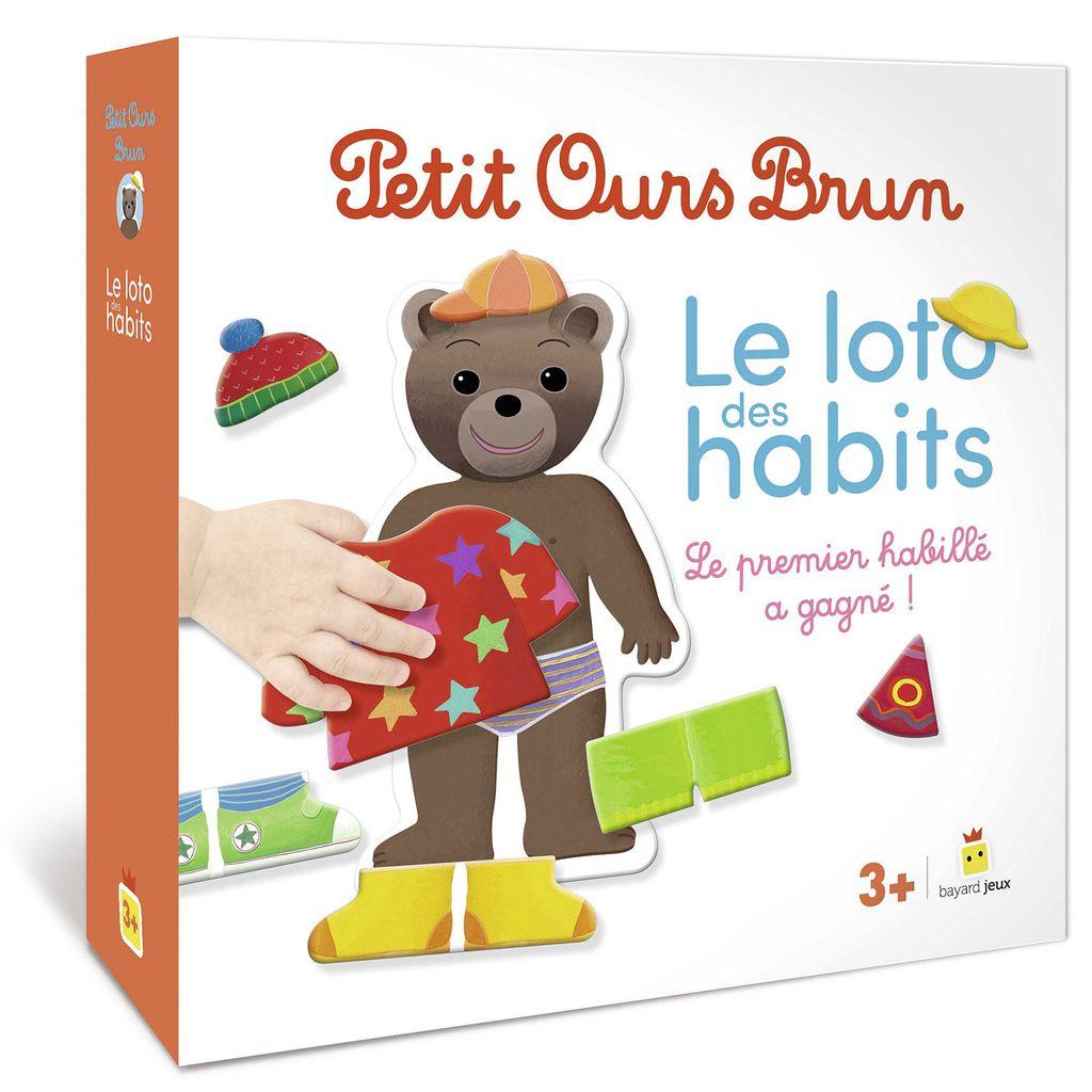 Couverture de «Jeu Petit Ours Brun – Le loto des habits»