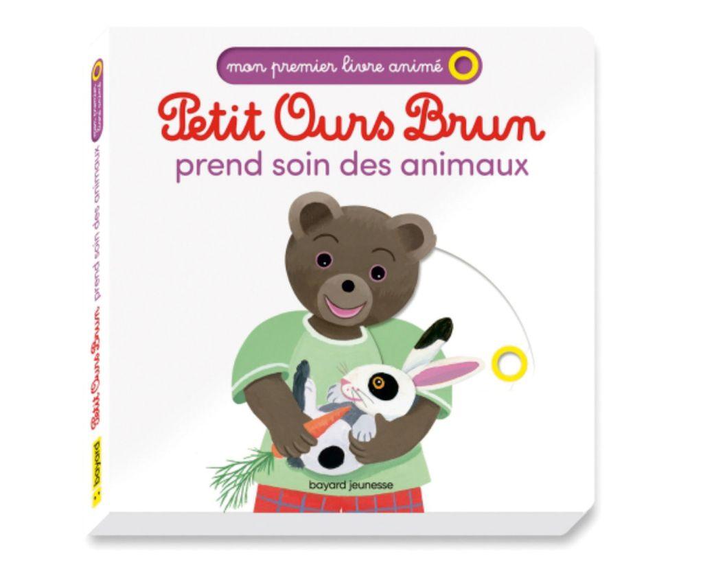 Couverture de «Petit Ours Brun prend soin des animaux – Mon premier livre animé»