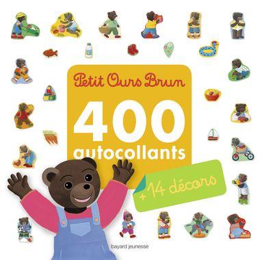 Couverture de «Mon grand livre d'autocollants de Petit Ours Brun – 400 autocollants + 14 décors»