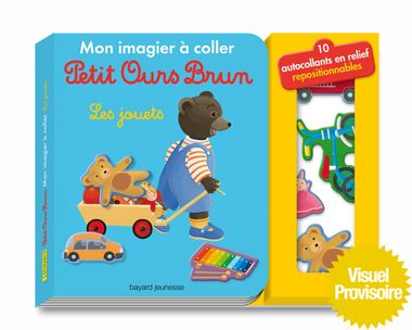 Couverture de «Mon imagier à coller Petit Ours Brun – Les jouets»