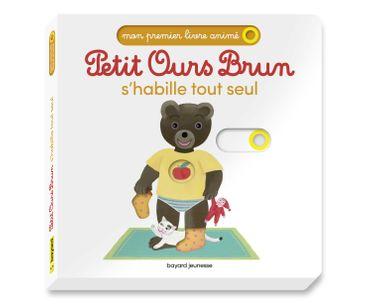 Couverture de «Petit Ours Brun s'habille comme un grand – Mon premier livre animé»