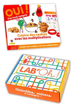 Oui t'as tout compris, box maths ! Cuisine des cookies avec les multiplications' et 'Lab'oh', box sciences, Stalactites, volcans et compagnie !